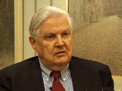 Robert A. Mundell during the interview.