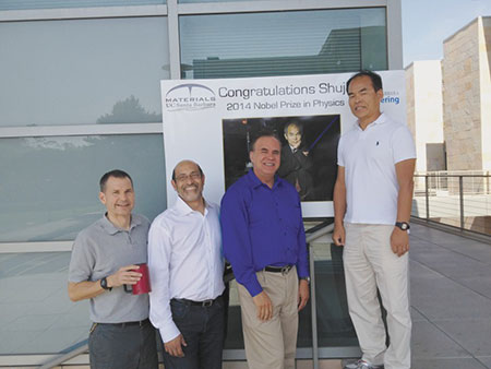 Shuji with his colleagues James Speck, Umesh Mishra and Steven DenBaars at UCSB after the announcement of the 2014 Nobel Prize in Physics.