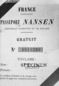 A proof-print of the Nansen Passport published in France.