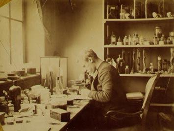 Fridtjof Nansen with a microscope.