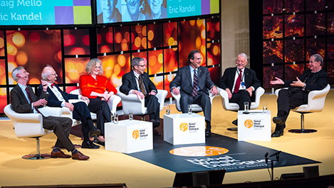 'What Can We Say About the Future?' Six Nobel Laureates discussed ageing during the 2014 Nobel Week Dialogue, on 9 December 2014. From left: Moderator Adam Smith, Medicine Laureates Eric Kandel and Elizabeth Blackburn, Laureate in Economic Sciences Eric Maskin, Medicine Laureate Craig Mello, Laureate in Economic Sciences Daniel McFadden and Chemistry Laureate Aaron Ciechanover.