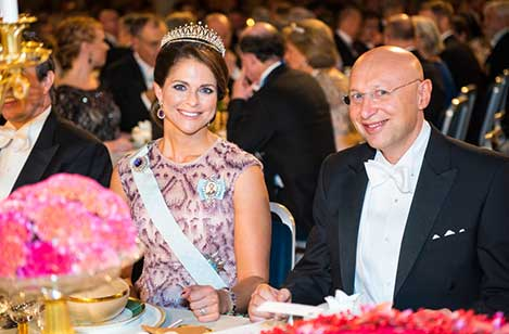 Sweden's Princess Madeleine and Stefan W. Hell at the table of honour at the Nobel Banquet, 10 December 2014.