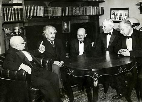 From left to right: Nobel Laureates Walther Nernst, Albert Einstein, Max Planck, Robert A. Millikan and Max von Laue at a dinner given by Professor von Laue