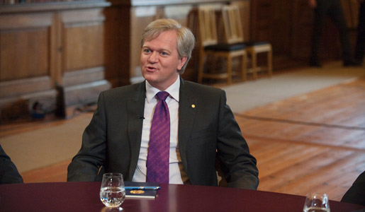 Brian P. Schmidt at Nobel Media's taping of the TV-program Nobel Minds in the Bernadotte Library at the Royal Palace, 9 December 2011