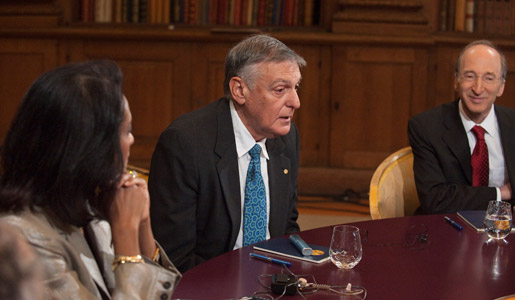 Dan Shechtman at Nobel Media's taping of the TV-program 'Nobel Minds' in the Bernadotte Library at the Royal Palace, 9 December 2011