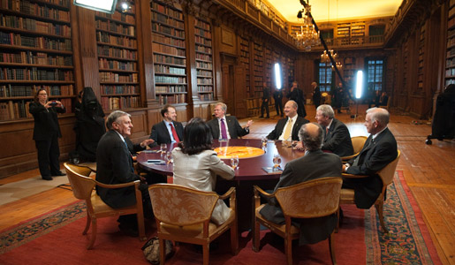 Dan Shechtman at Nobel Media's taping of the TV-program Nobel Minds in the Bernadotte Library at the Royal Palace, 9 December 2011