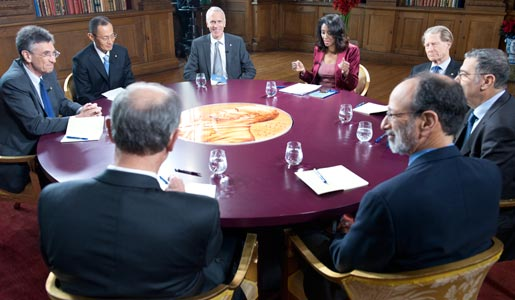 Recording of the TV-program 'Nobel Minds', hosted by Zeinab Badawi, BBC World News, in the Bernadotte Library at the Royal Palace