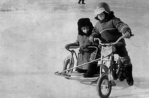 Myself (steering) and my friend Dima Zamiatin racing on ice track (approx. 1980).