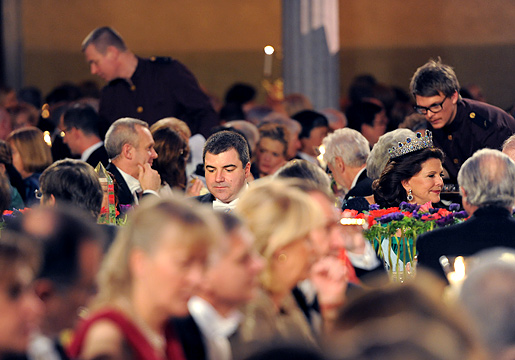 Konstantin Novoselov and Queen Silvia of Sweden at the table of honor at the Nobel Banquet