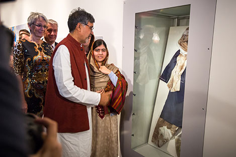 Kailash Satyarthi and Malala Yousafzai at the opening of the exhibition 'Malala and Kailash' at the Nobel Peace Center in Oslo, Norway. Copyright © Nobel Peace Center 2014. Photo: Johannes Granseth.