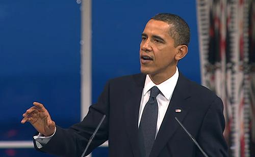 Barack H. Obama delivering his Nobel Lecture