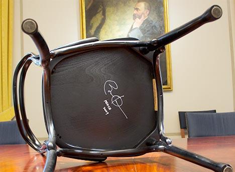 Chair autographed by Barack Obama. Copyright © Nobel Media 2013. Photo: N. Elmehed