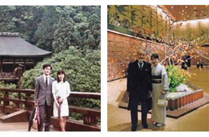 Yoshinori and Mariko Ohsumi in 1971 and 2015.