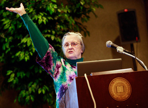 Elinor Ostrom delivering a lecture