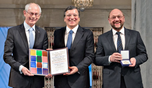 Presidents Herman Van Rompuy, José Manuel Barroso and Martin Schulz receiving the Nobel Prize medal and diploma for the European Union (EU) during the Nobel Peace Prize Award Ceremony at the Oslo City Hall in Norway
