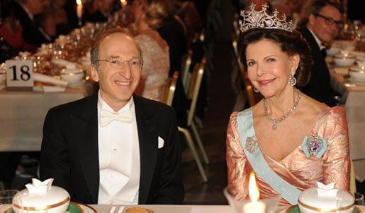 Saul Perlmutter and Queen Silvia of Sweden at the Nobel Banquet
