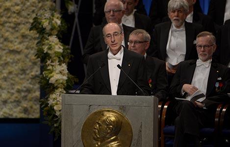 Professor Peter Brzezinski delivering the Presentation Speech for the 2017 Nobel Prize in Chemistry