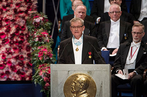 Professor Carl-Henrik Heldin delivering the opening address during the Nobel Prize Award Ceremony at the Stockholm Concert Hall