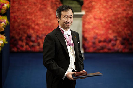 Takaaki Kajita after receiving his Nobel Prize at the Stockholm Concert Hall