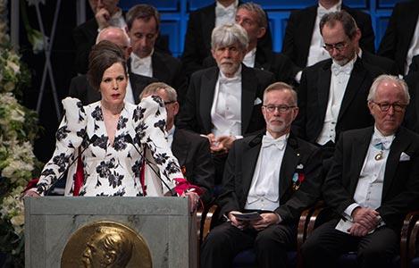 Professor Sara Danius delivering the Presentation Speech for the 2017 Nobel Prize in Literature.