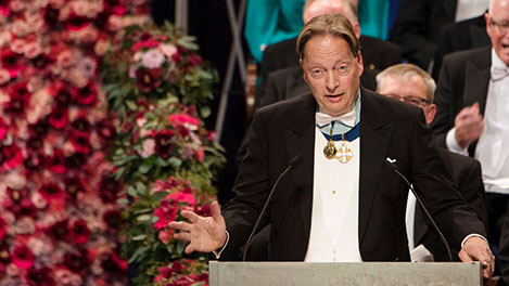 Professor Horace Engdahl delivering the Presentation Speech for the 2016 Nobel Prize in Literature.