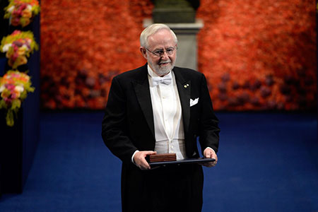 Arthur B. McDonald after receiving his Nobel Prize at the Stockholm Concert Hall