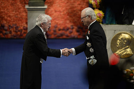 Paul Modrich  receiving his Nobel Prize from H.M. King Carl XVI Gustaf of Sweden