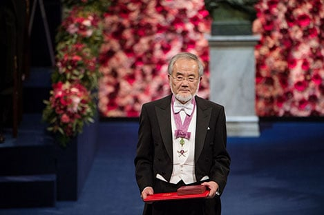 Yoshinori Ohsumi after receiving his Nobel Prize at the Stockholm Concert Hall