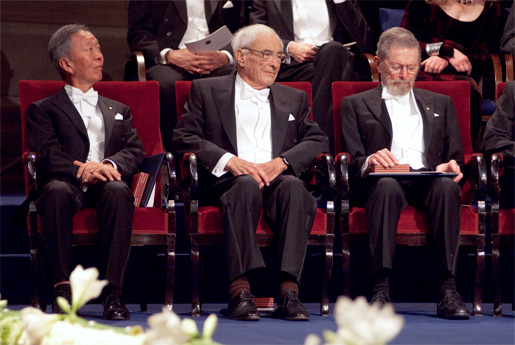 Close-up of the Nobel Laureates in Physics