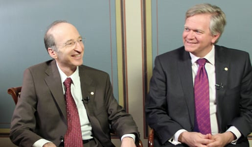 Saul Perlmutter (left) and Brian P. Schmidt (right) during their interview with Nobelprize.org