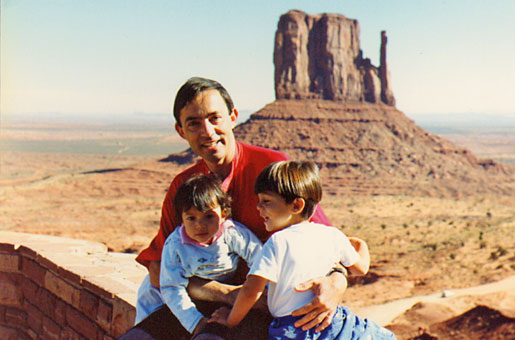 Touring the West during the Berkeley visit. With children Antony and Miranda at Monument Valley, 1991