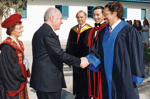 With the President of the Republic, George Vassiliou, at the new University of Cyprus, early 1990s
