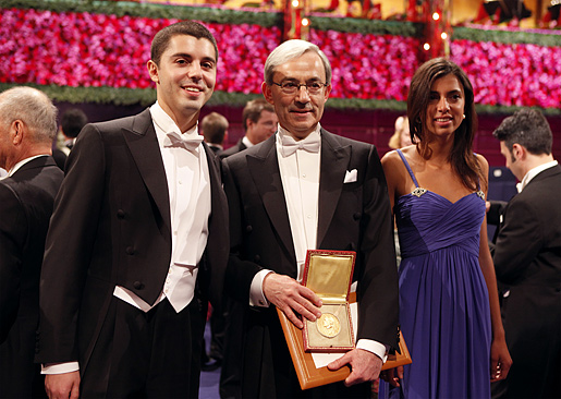 Christopher A. Pissarides with his children