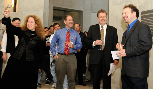 Colleagues at Johns Hopkins University proposing a toast for Adam Riess, 2011 Nobel Laureate in Physics