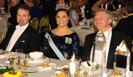Brian P. Schmidt, Crown Princess Victoria of Sweden and Physics Laureate Adam G. Riess at the Nobel Banquet