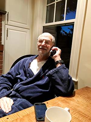 Michael Rosbash in his kitchen.