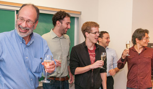 Alvin E. Roth celebrating the Economic Sciences Prize with his students before class at Stanford University