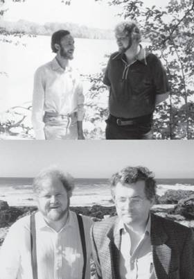 Top: the author with Graham Warren in 1976, photographed in Haverhill, Massachusetts, my home town shortly after we first met when he was visiting Harvard and I was still a PhD student there. Many of my formative ideas took shape in discussions with Graham, and later ones as well. Bottom: with Felix Wieland in 1987, photographed in Half Moon Bay, California, taken during the period of his pivotal sabbatical in my Stanford laboratory. Felix is a consummate enzymologist and taught me much.