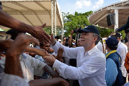 President Santos in Algarrobo, Magdalena. Photo: Juan David Tena – SIG