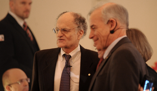Thomas J. Sargent and Christopher A. Sims before delivering their Prize Lectures