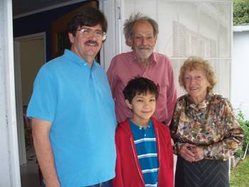 Lloyd, Peter (son) and Richard (grandson) Shapley visiting Mildred Shapley Matthews (his sister) in Pasadena in 2009.