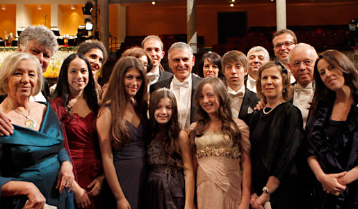 Dan Shechtman with family and friends after the Nobel Prize Award Ceremony