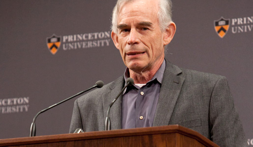 Christopher A. Sims addresses the audience at a news conference at Princeton University