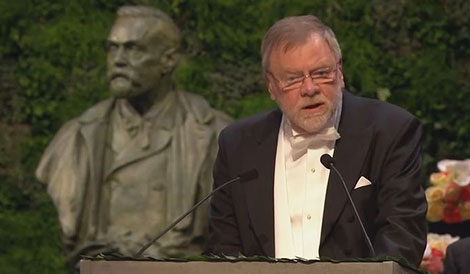 Professor Måns Ehrenberg delivering the Presentation Speech for the 2014 Nobel Prize in Chemistry