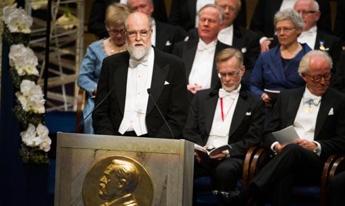 Professor Gunnar Karlström delivering the Presentation Speech for the 2013 Nobel Prize in Chemistry