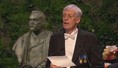 Writer Jesper Svenbro delivering the Presentation Speech for the 2014 Nobel Prize in Literature.