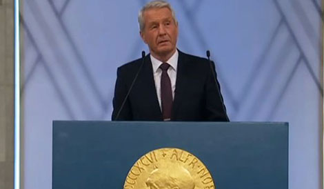 Thorbjørn Jagland, Chairman of the Norwegian Nobel Committee, delivering the Presentation Speech at the Nobel Peace Prize Award Ceremony.