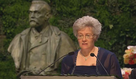 Professor Anne L'Huillier delivering the Presentation Speech for the 2014 Nobel Prize in Physics.