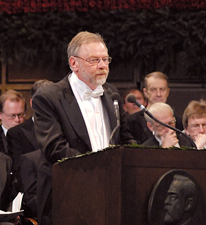 Professor Måns Ehrenberg delivering the Presentation Speech