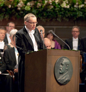 Professor Anders Olsson delivering the Presentation Speech for the 2009 Nobel Prize in Literature